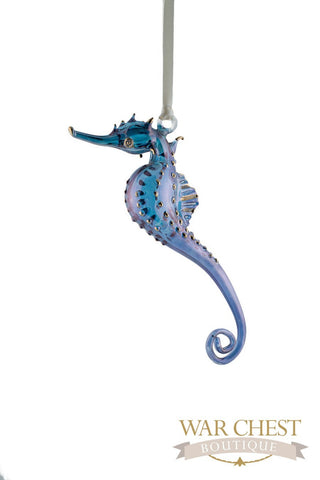 Glass Seahorse Ornament Blue - Ornaments - WAR Chest Boutique