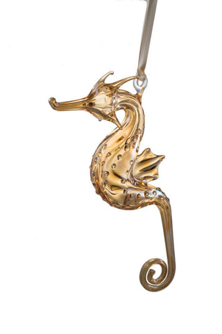 Glass Seahorse Ornament - Yellow