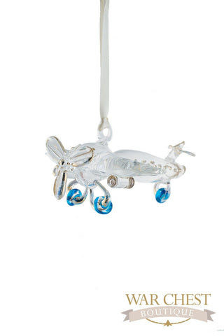 Airplane Glass Ornament Clear