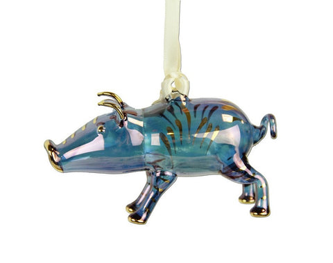 Pig Ornament Blue - Ornaments - WAR Chest Boutique