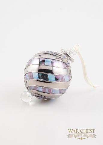 Beribboned Blue & Silver Ornament - Ornaments - WAR Chest Boutique