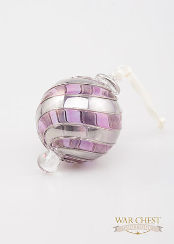 Beribboned Purple & Silver Ornament - Ornaments - WAR Chest Boutique