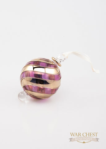 Beribboned Purple & Gold Ornament - Ornament - WAR Chest Boutique