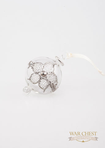 Flower Ball Ornament Clear & Silver - Ornaments - WAR chest Boutique