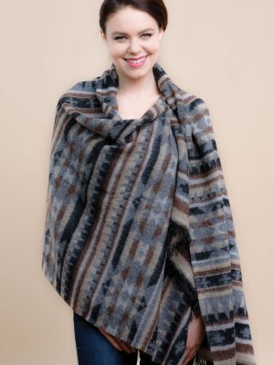 Gray & Black Namita Wool Shawl