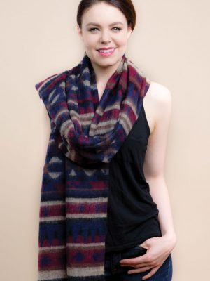 Black & Wine Namita Wool Shawl