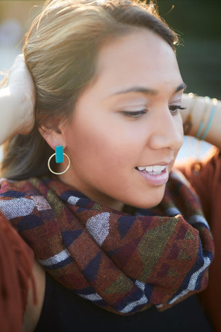 Rust & Navy Namita Wool Shawl - Accessories - WAR Chest Boutique