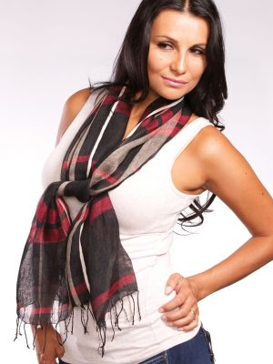 Black & Red Abha Linen Scarf
