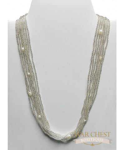 White Seed Bead Glam Necklace