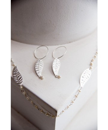 Sterling Leaf & Pearl Earrings