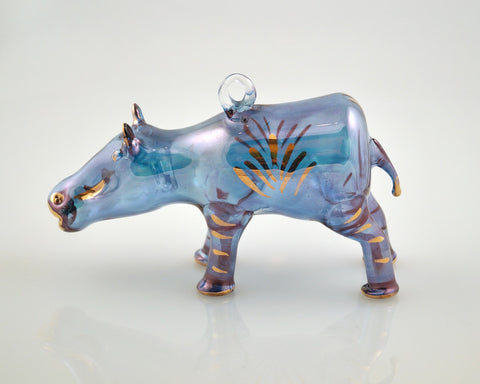 Hippo Ornament Blue - Ornaments - WAR Chest Boutique