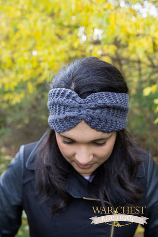 Gray Bow Tie Winter Headband