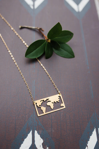 Brass World Map Necklace - Handcrafted in Nepal - WAR Chest Boutique