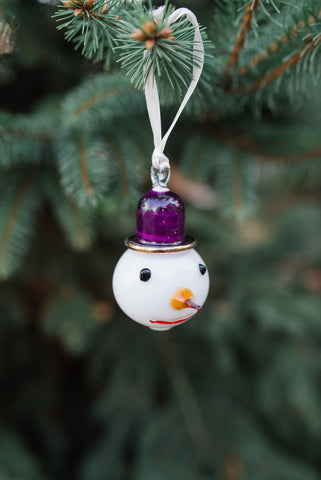 Snowman Purple Hat Ornament - Ornaments - WAR Chest Boutique