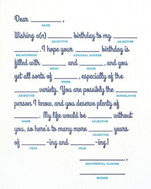 Mad Lib Birthday Card