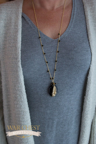 Feather & Stone Necklace