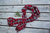 Red Plaid Fringe Scarf