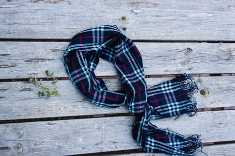 Navy Plaid Fringe Scarf