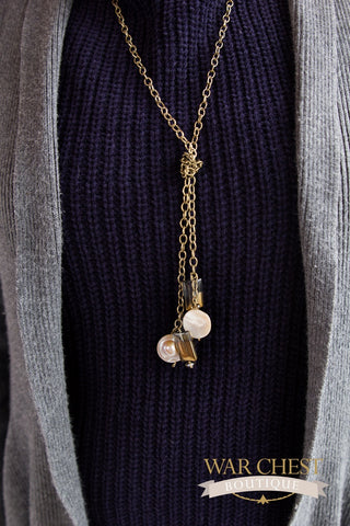 Coin Pearl Lariet Necklace
