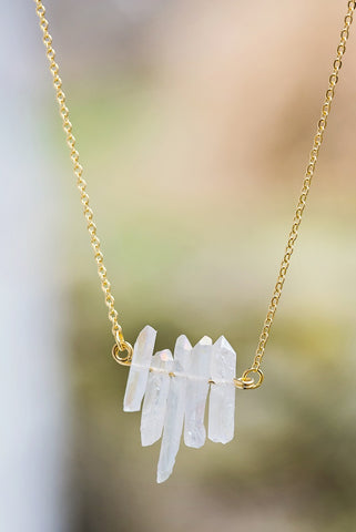 White Quartz Bar Necklace