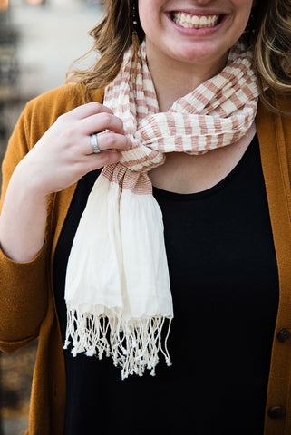 Surya Stripes Soft Peach Scarf