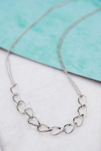 Silver Link Long Necklace
