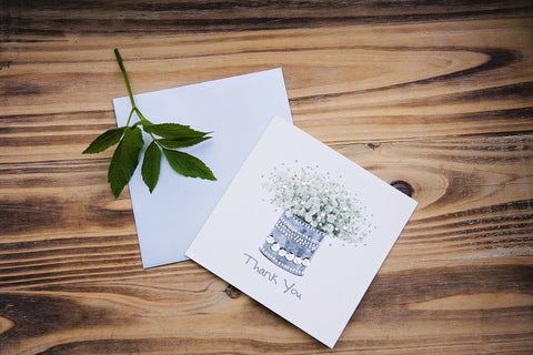 Silver Thank You Flowers Card