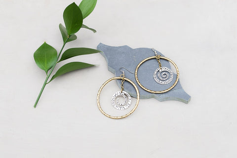 Antique Gold & Silver Spiral Earrings