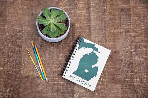 Green & White Michigan Notebook
