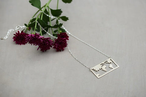 Silver World Map Necklace