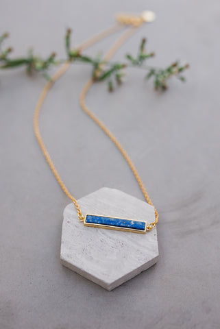 Lapis Bar Necklace for Women - Jewelry - WAR Chest Boutique
