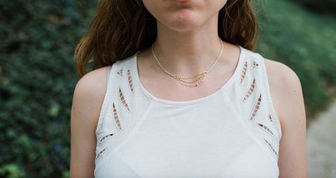 Two-tone Tiered Chain Choker