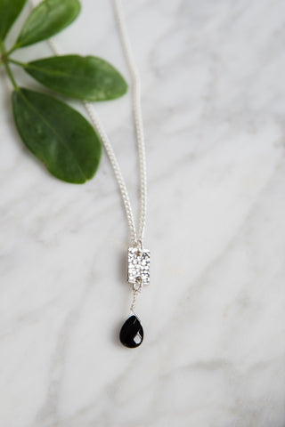 Silver Bar and Onyx Necklace