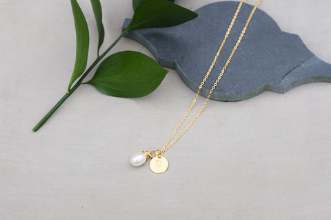 Pearl and WAR Charm Gold Necklace