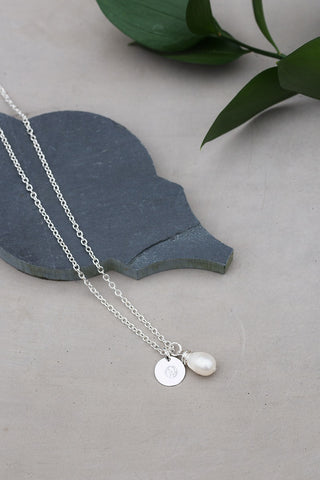 Pearl and WAR Charm Silver Necklace