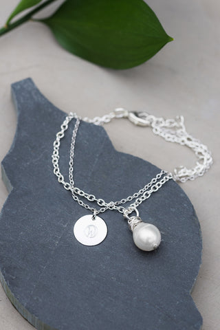 Pearl and WAR Charm Silver Bracelet