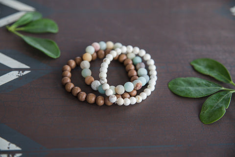Amazonite & Howlite Bracelet Set