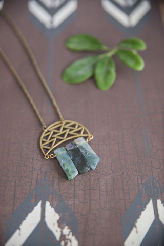 Moss Agate Crescent  Necklace for Women - Jewelry - WAR Chest Boutique
