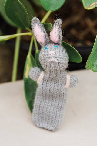 Rabbit and Backpack Finger Puppet