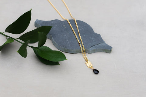 Gold Bar & Onyx Necklace