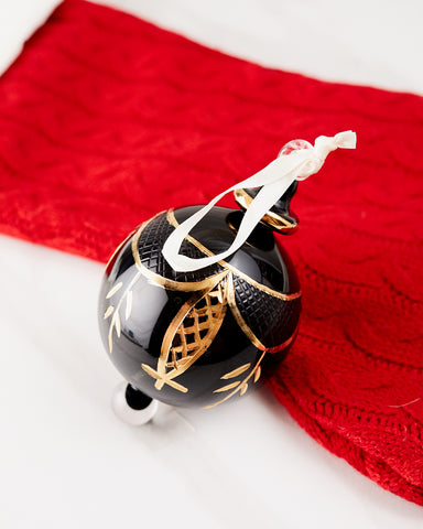 Black and Gold Ball Ornament - Ornaments - WAR Chest Boutique