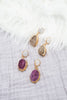 Geode and Pearl Post Earrings