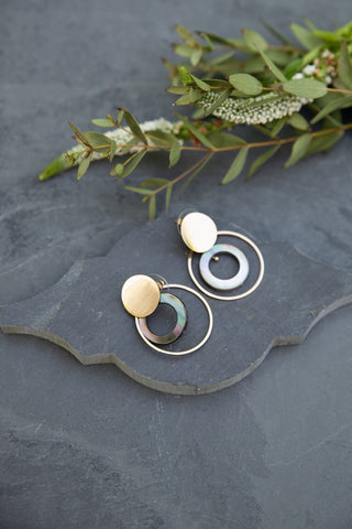 Abalone Gold Rings Earrings