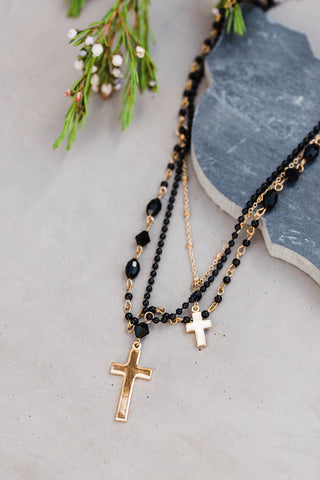 Gold & Black Tiered Cross Neck