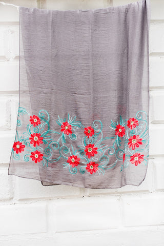Grey with Red Embroidery Scarf