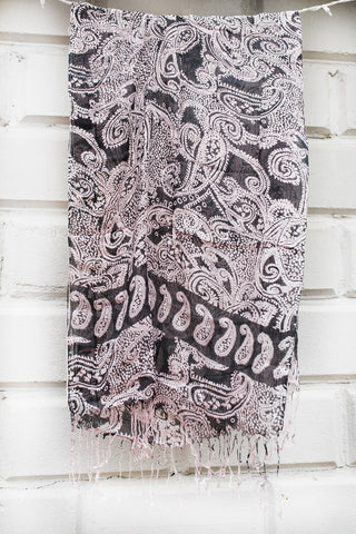 Gray & Pink Paisley Scarf