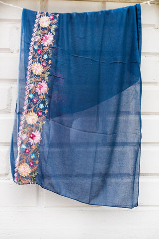 Navy Floral Embroidered Scarf