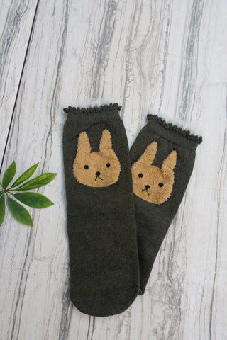 Green Bunny Ruffle Sock for Children - WAR Chest Boutique