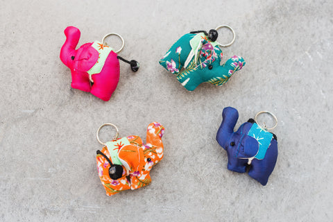 Fabric Elephant Keychain