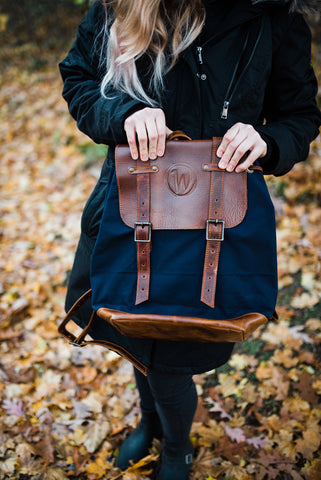 Leather and Canvas Backpack for Men and Women - Bags - WAR Chest Boutique